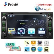 Podofo 2 din Auto Radio Stereo Auto radio 2din FM Ricevitore Bluetooth DVD/CD/MP3/USB/ SD/AUX Audio di Sostegno del Giocatore di Videocamera vista posteriore