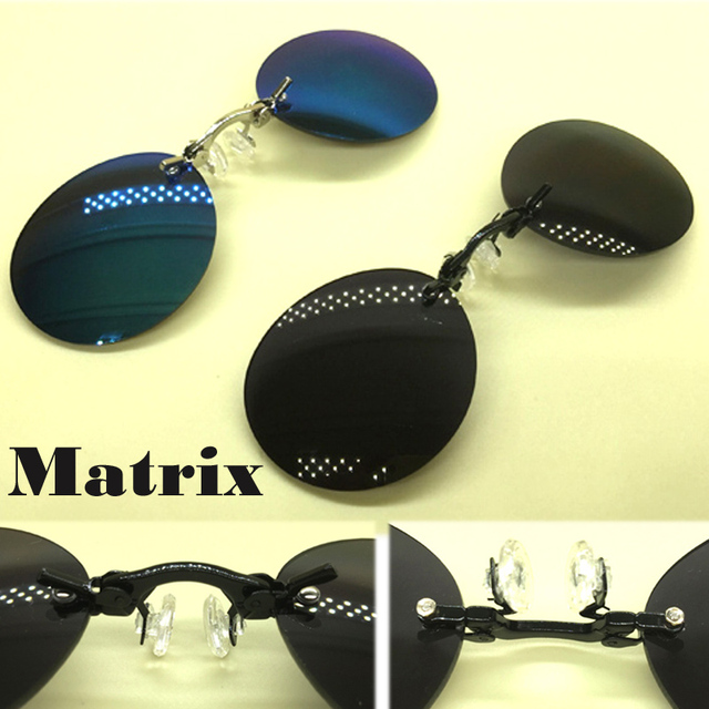 9402a89a14adf Marca Designer 3 Cores Retro Rodada Clip On óculos Nariz Filme Matrix  Morpheus óculos sem aro