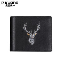 P.Kuone new Men Wallet Genuine Leather Purse Fashion Deer head creative Long Business Male Clutch short Wallets Men's handbags