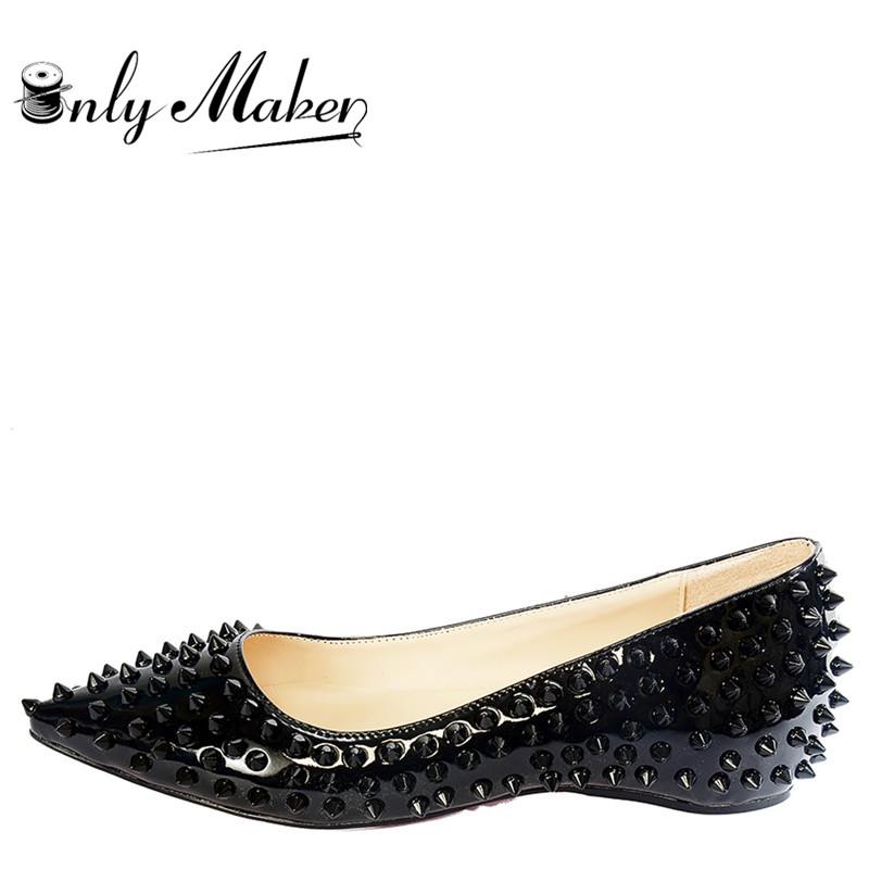 Onlymaker 2019 Ladies Elegent Pointed Toe Rivet Studded Ballet Flat Shoes for Wedding Party shoes woman
