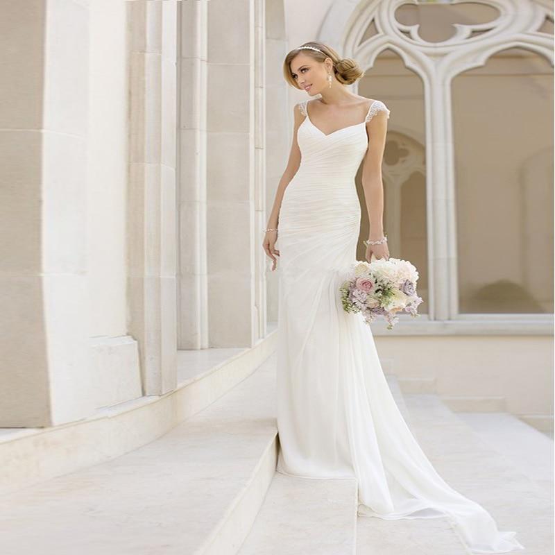 2017 Vestido De Novia Sheath Bridal Dress Sleeves Lace