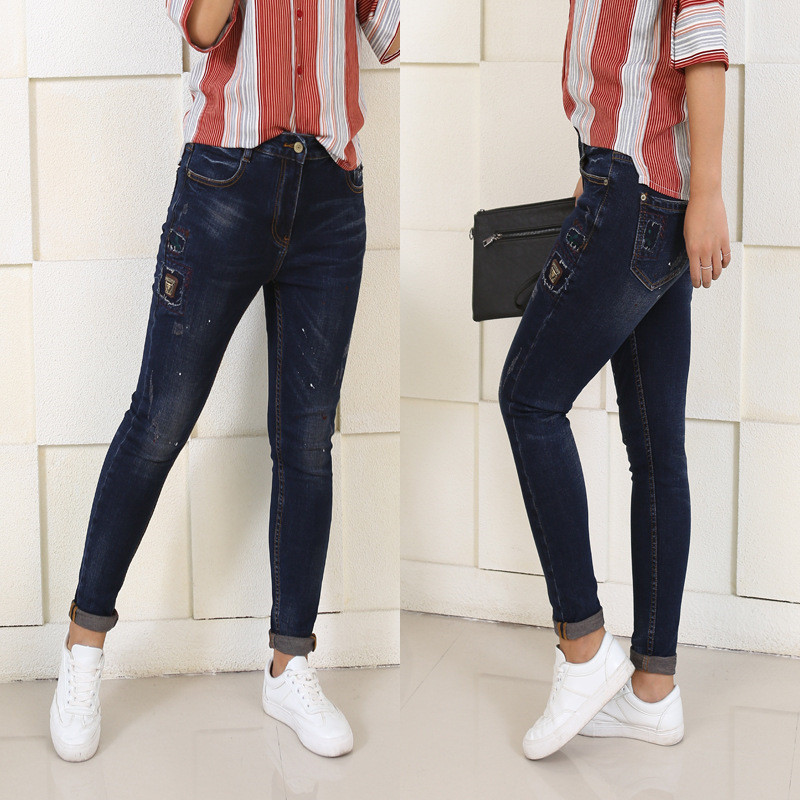 New Fashion Women Winter Jeans Harem Pants Ripped Stretch Slim High Waist Pencil Pants Trousers Pantalon Femme Plus Size 5XL high waist jeans women plus size femme stretch slim loose large size jeans pants 2017 casual ankle length haren pants trousers