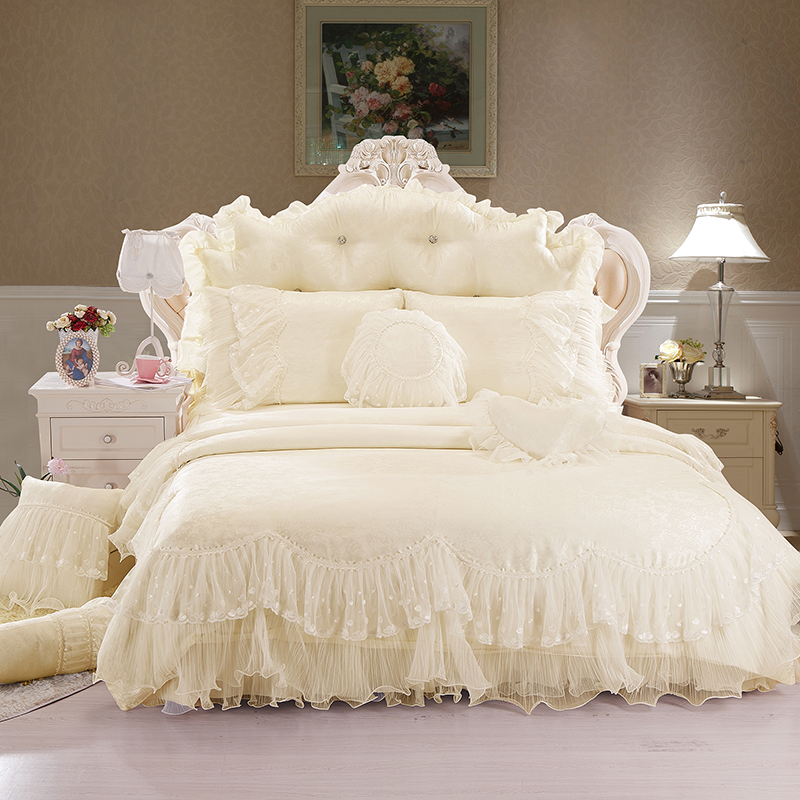 luxury 100% cotton cream red pink purple lace Bedding set duvet cover bed skirt pillows case 4/6/8pcs/king/queen double size