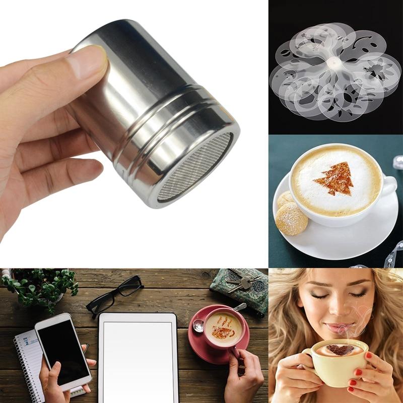 XEJONR Edelstahl Kaffee Schokolade Shaker Kakao Mehl Salz Pulver Puderzucker Cappuccino Sichter Deckel Shaker Küche Werkzeuge