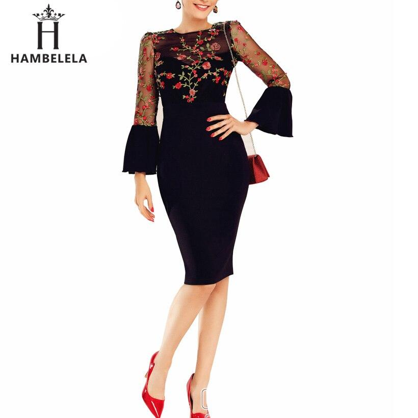 HMBL Summer Elegant Dress Women 2019 Fashion Long Flare Sleeve Embroidery Mesh Office Dress Female Sexy O-Neck Bodycon Dress