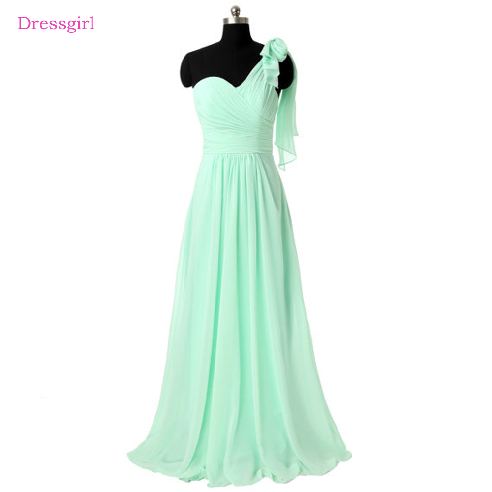 Mint Green 2018 Cheap Bridesmaid Dresses Under 50 A Line One Shoulder Chiffon Backless Long Wedding