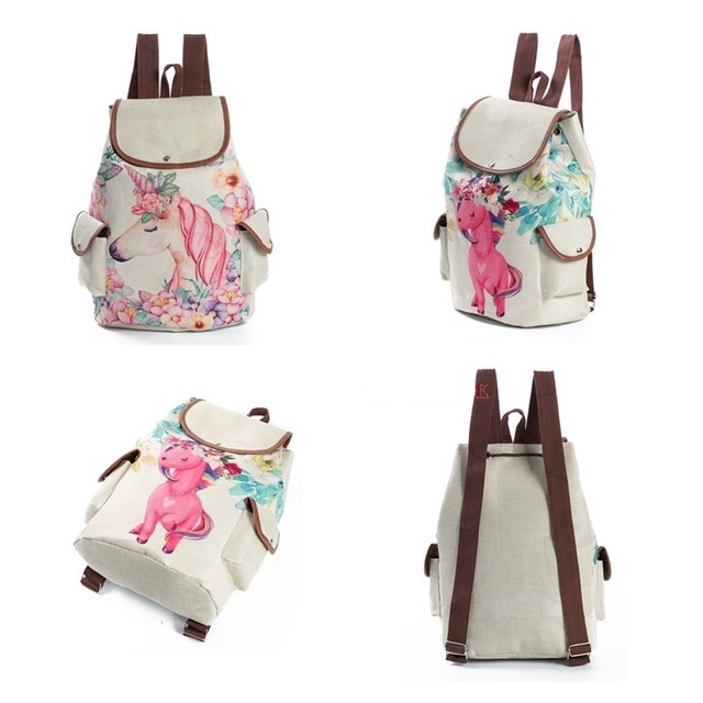 Fresh Designmochilas de unicornio Printing Linen Backpacks Teenage Girls Cartoon Shoulder