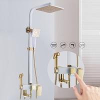 Bath & Shower Faucets Gold & White Finish Shower head faucet Bathtub Faucet Set Wall Mounted Bathroom Rainfall Shower Faucet Set