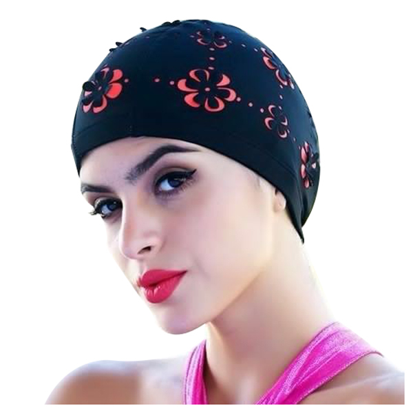 huge discount 4dfe6 700f1 New Womens Retro Summer Swimming Cap Flower Floral Hollow Bathing Hat  Black rose red