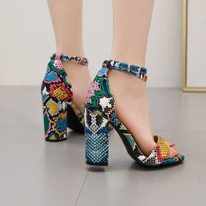 Image 4 - Qianjiaobaihui Colour Snake Sandals Thick Heel High Sandals Woman Ankle Strap Snake Shoes Summer Banquet Party Sandales Female