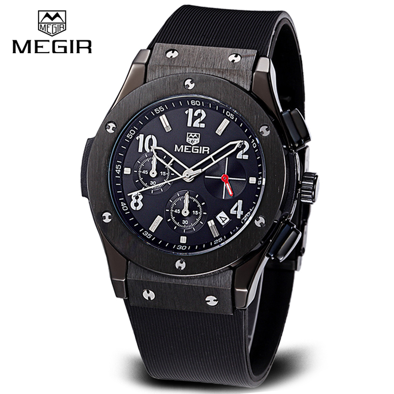 Top Brand Megir Male Military Watches Casual Quartz Wrist Watches Luxury CHRONOGRAPH 24 Hours Function Men Sport Watches horloge