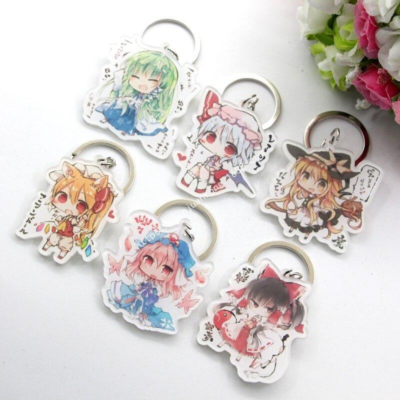 6 teile/satz Anime Keychain TouHou Projekt Remilia Scarlet Schlussel Schnalle Marisa Hakurei Reimu Schlüsselanhänger Kühlen Keychain