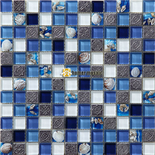 blue crystal glass mixed shell mosaic tiles hmgm2015 for living room kitchen backsplash bathroom fireplace wall floor mosaic - Glass Tile Living Room 2015