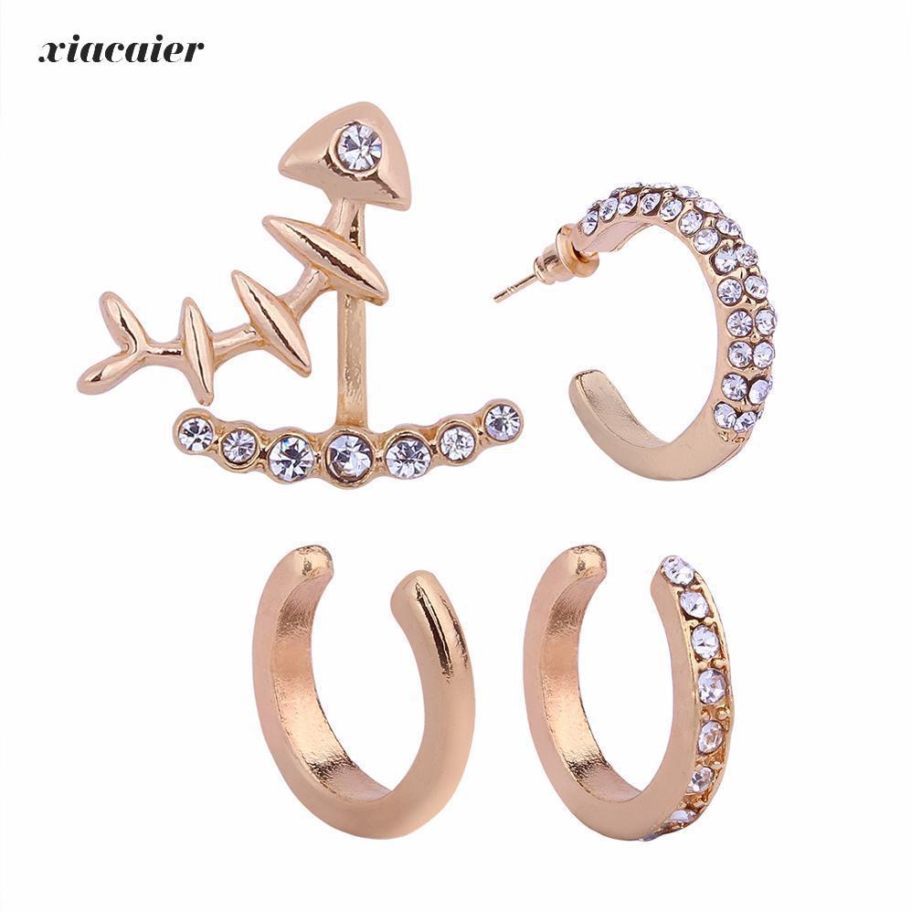 Xiacaier 4pcs Set Gold Color Rhinestone Fishbone Earrings For Women Earings Fashion Jewelry Stud Bijoux Brincos In From