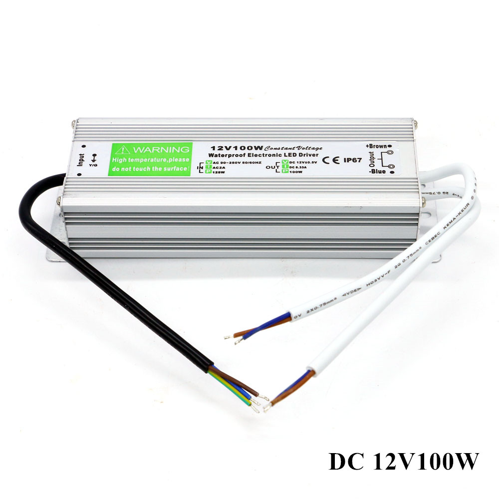 DC 12V Adapter Waterproof IP67 LED Power Supply AC 90-250V to DC 12V 100W 8.3A Power Supply for Outdoor Strip Lights Driver стоимость