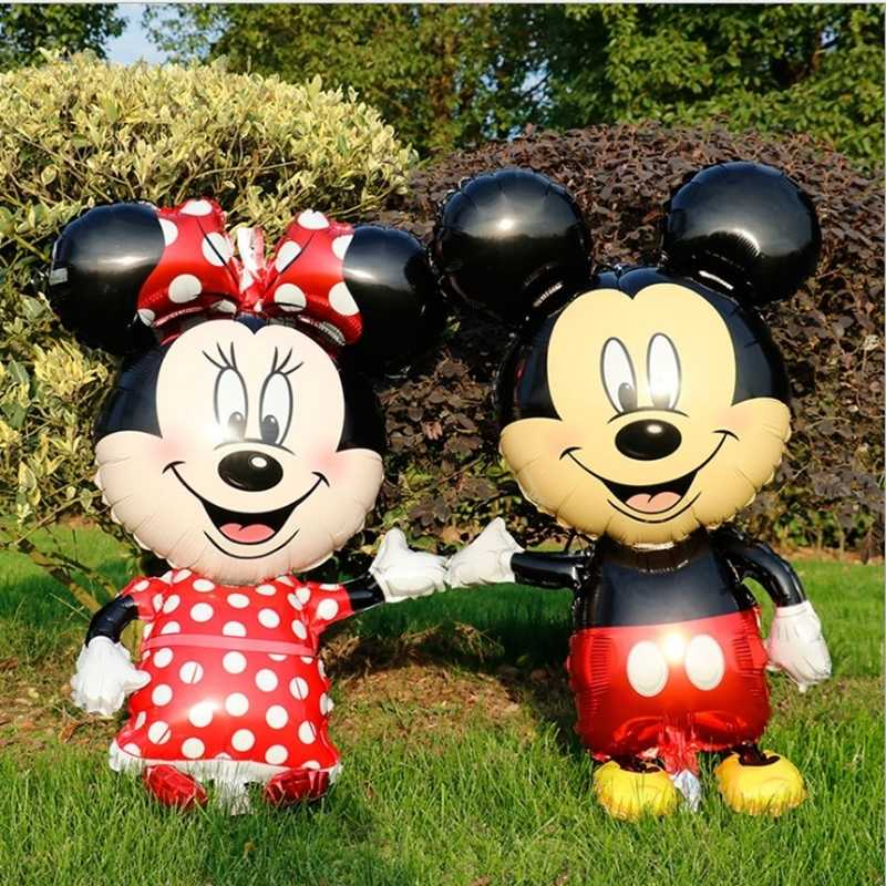 1 PC 110 Cm Raksasa Disney Mickey Minnie Mouse Foil Balon Cartoon Happy Ulang Tahun Bayi Shower Partai Ballons mainan
