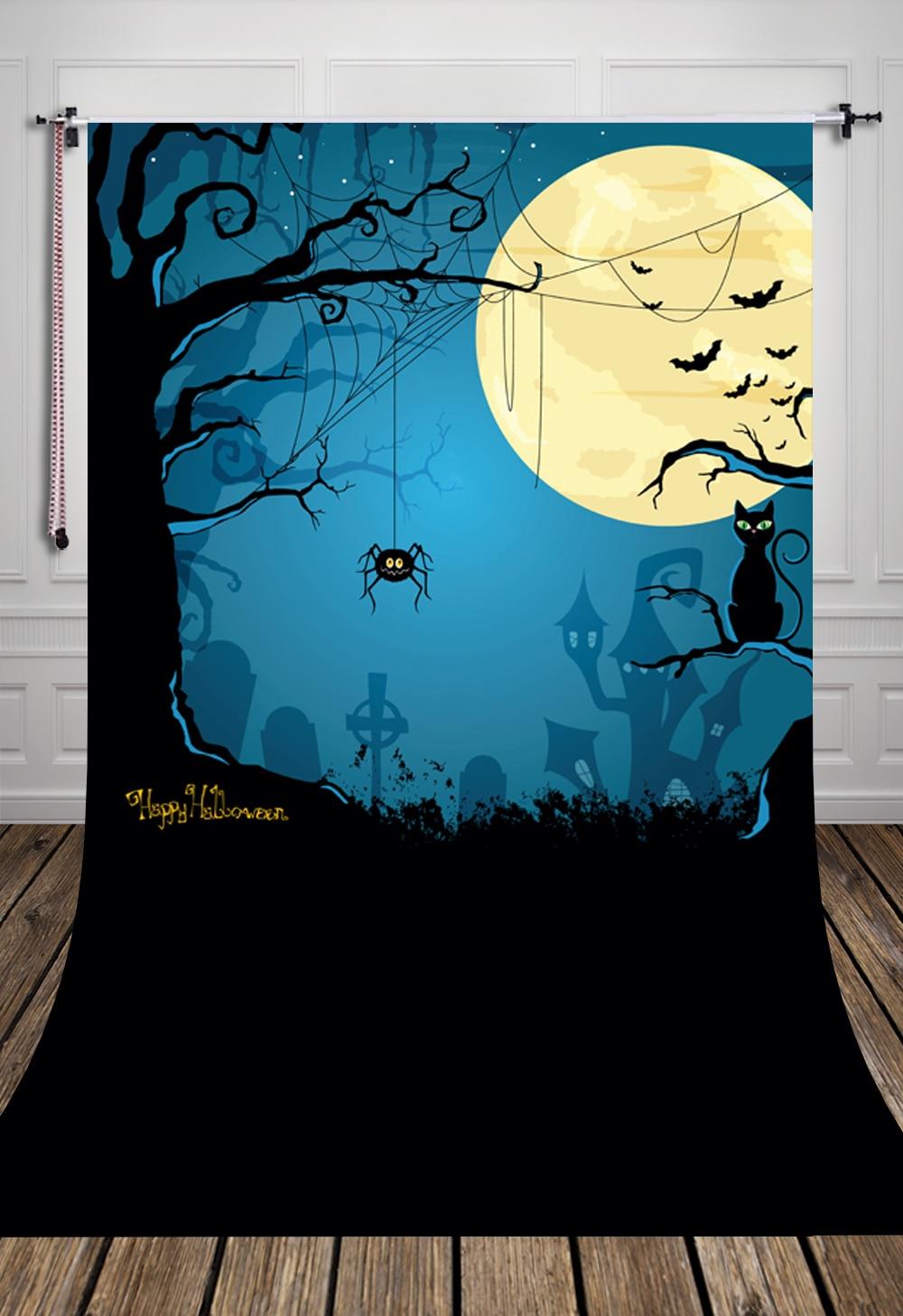 huayi moon night pumpkin photography halloween backdrop d6904 - Halloween Backdrop