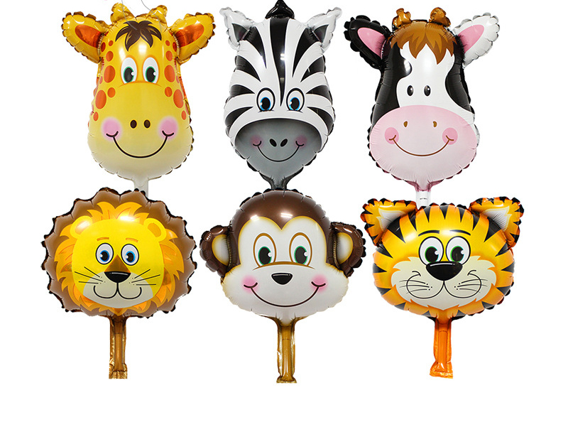Hot mini Lion & monkey & zebra & deer & cow & tiger Head Helium Foil Balloons Birthday Party Animal Balloons theme party suppies