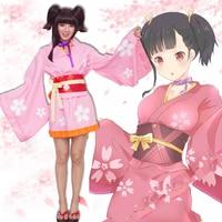 HUGGUH Brand New Anime Mumei Japanese Kimono Sakura Pattern Halloween Cosplay Costume Women Dress High Qulaity