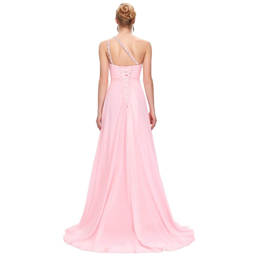 Encantador Vestido De La Dama Púrpura Un Hombro Embellecimiento ...