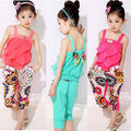 2016 Baby Girls Kids Summer Beach Vest T-shirt Tops Clothes Short Pants Outfit Lovely Girls Clothes Sets
