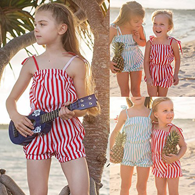 Summer Toddler Kid Baby Girl Romper Jumpsuit Red Striped Print Piece Short Pant Clothes Jumpsuit Playsuit Outfits ship from USA