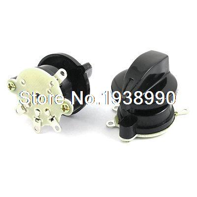 2pcs Latching Fan Speed Control 4 Position Rotary Selector Switch AC 250V 4A 1 no 1 nc three 3 positon rotary selector select switch latching 22mm