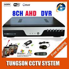 Productos calientes AHDNH AHD DVR 1080 P 12fps 8CH CCTV Grabador cámara de Red IP de 8 Canales NVR $ number CANALES de Audio de Entrada Multi-idioma alarma