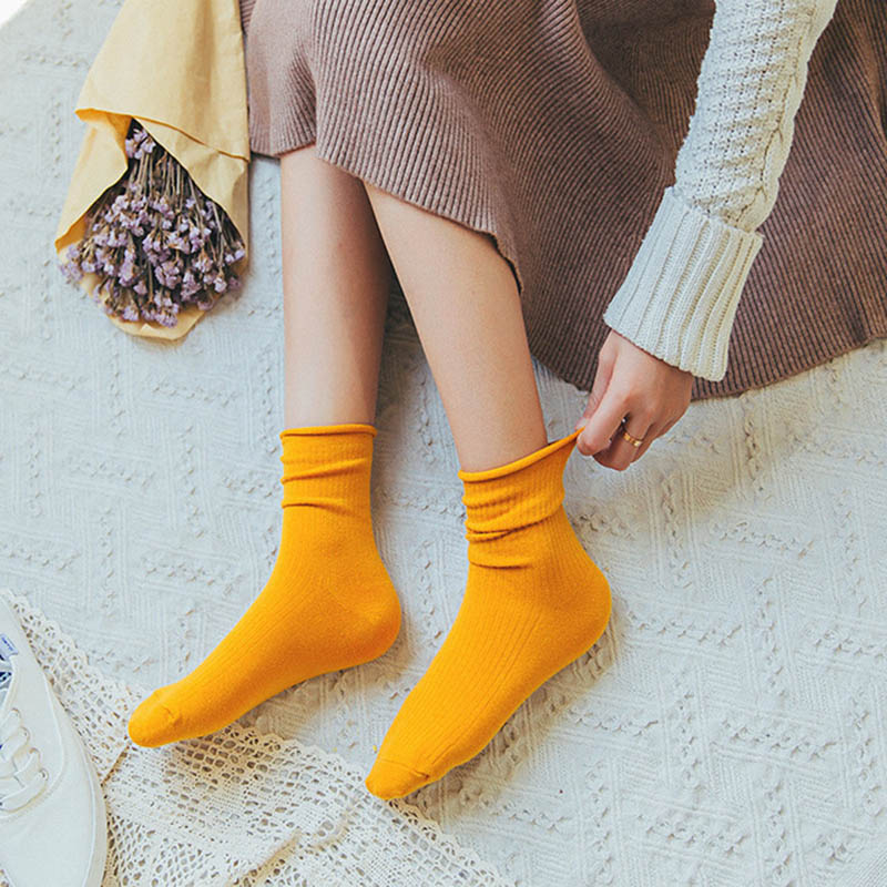 5 Pairs Solid Casual Women Socks Cotton Comfortable Short Skarpetki Damskie Classic Soft Socks Female New Brand Creased Edge