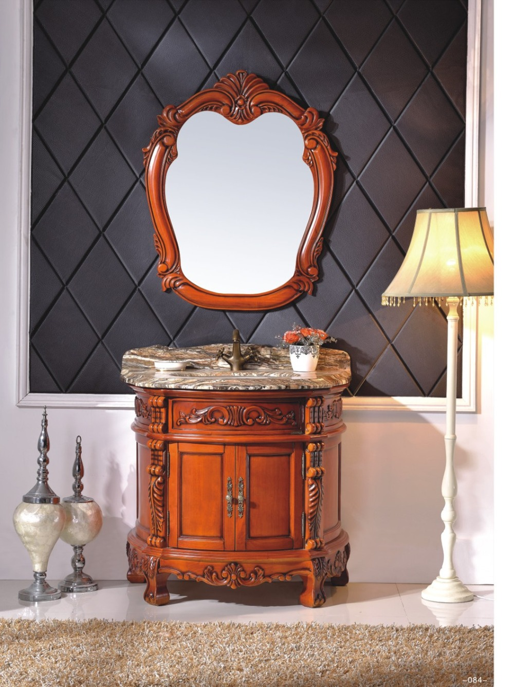 Cherry wood bathroom vanity - Red Cherry Color Bathroom Cabinet With Natural Marble Top 0281 B8062