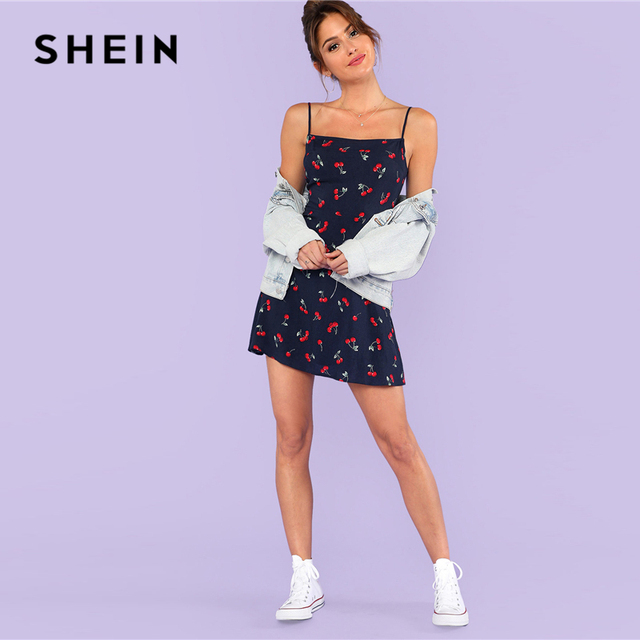 SHEIN Multicolor Weekend Casual Allover Cherry Print Natural Waist Short Spaghetti Strap Cami Dress Summer Women Going Out Dress 8