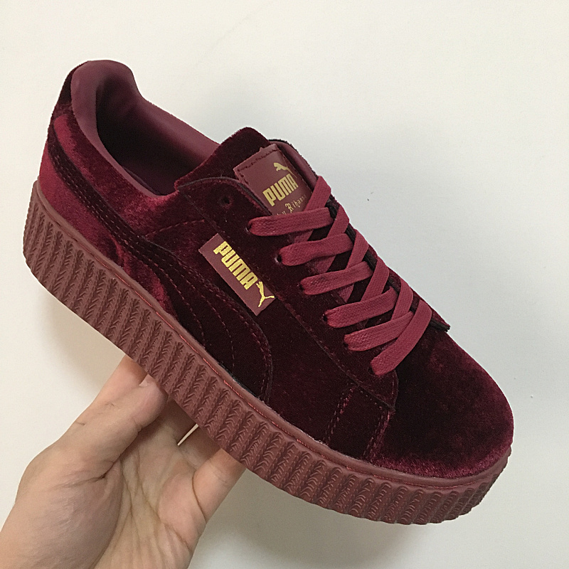 7685bfff7a69 2018Puma shoes puma Velvet thick soled platform shoes Shoes for men and women  velvet red size 36 44-in Badminton Shoes from Sports   Entertainment on ...