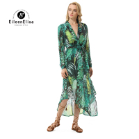 Eileen Elisa Asymmetrical Dress Runway 2017 Printed Dresses Long Sleeve Ankle Length Dress Women