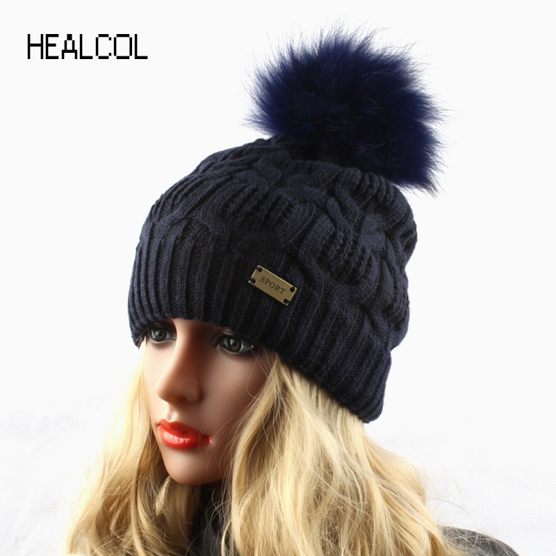 Winter Fur Pompom Hats For Women Real Raccoon Fur Ball Knitted Wool Beanie Hat Casual Warm Skullies Caps