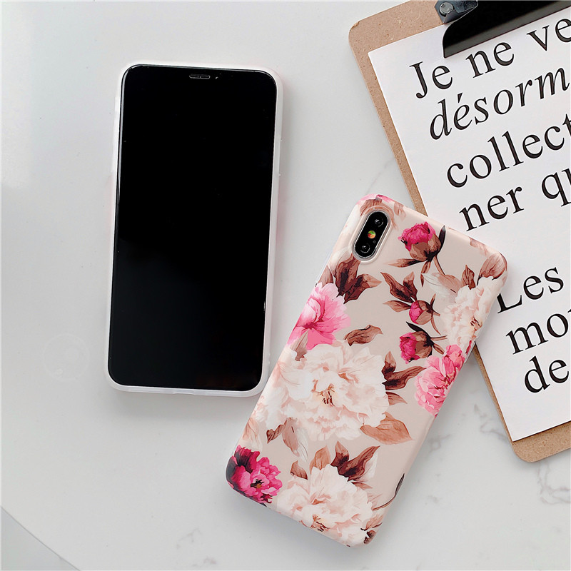 Pink Cherry Rose blossoms phone Cases for iphone X XR XS Max For iphone 6 6s 7 8 7plus Matte Soft TPU case back cover in Fitted Cases from Cellphones Telecommunications