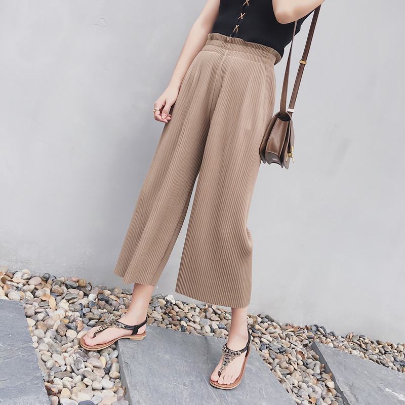 Summer   Pants   Women High Waist Pleated   Pant   Casual Loose   Wide     Leg     Pants   Ropped Trousers Women Culottes   Pants
