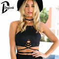 DayLook 2016 New Fashion Women Suede Sling Camisoles Cutting Tied Strap Hollow Out  Crop Top Back Zip  Black  Brown Plus Size