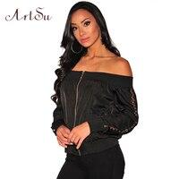 כתף כבויה סקסית חור ArtSu לרכוס ארוך נשים מעיל מעילי מעיל 2017 חורף סתיו שרוול מקרית הולו מתוך שחור ASCO30037
