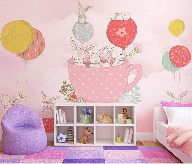Cartoon Hot Air Balloon Wallpaper Mural 3d Wall Photo For Kids Room Sofa Kindergarten Background