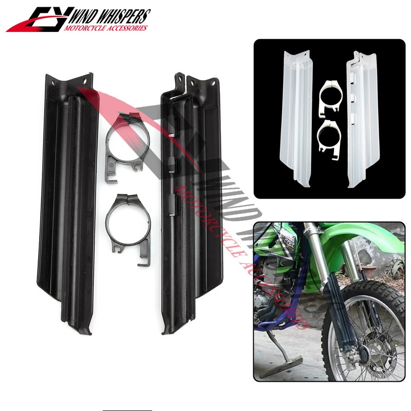 Motorcycle Front Shock Absorption Spillplate Fork Shock Guard Protect Board Black/White For Kawasaki KLX250 KDX125 KDX200 KDX250