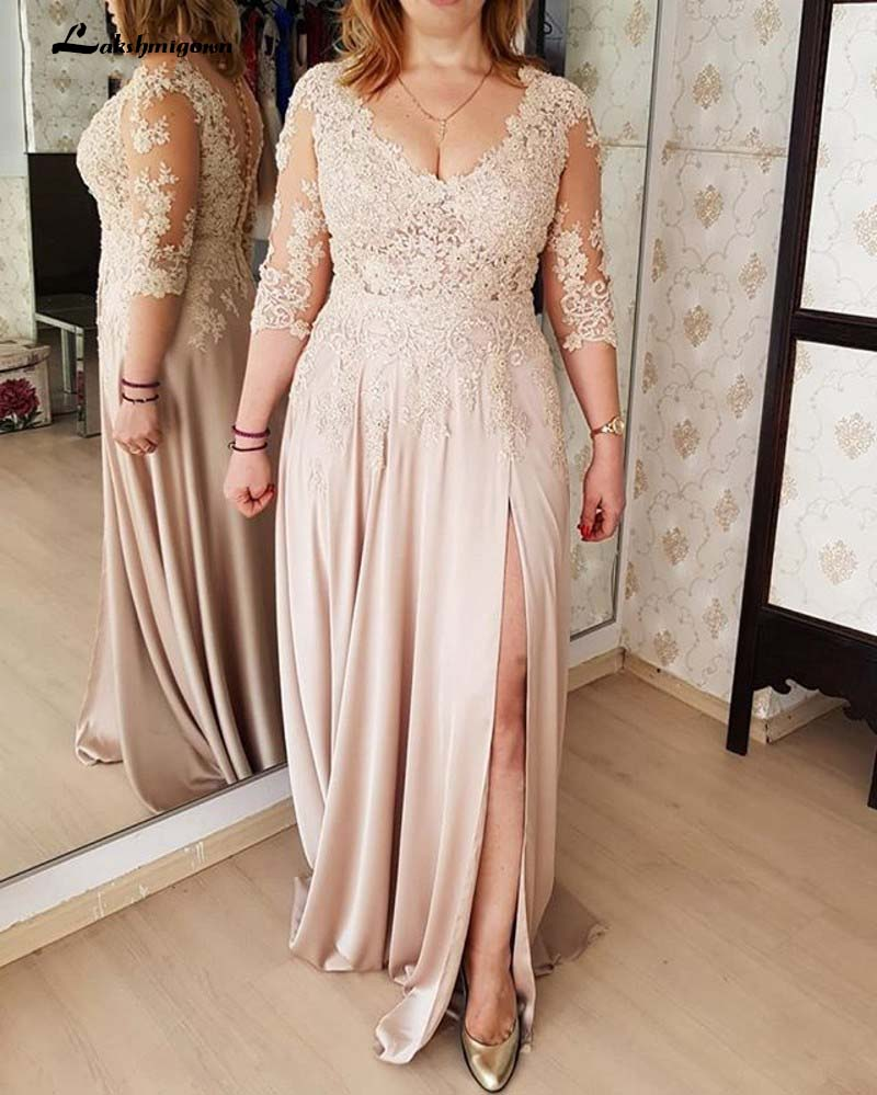 Illusion Bodice Long Mother Of The Bride Dress With Side Slit Sexy Groom Mother Gowns Vestido Madre De La Novia