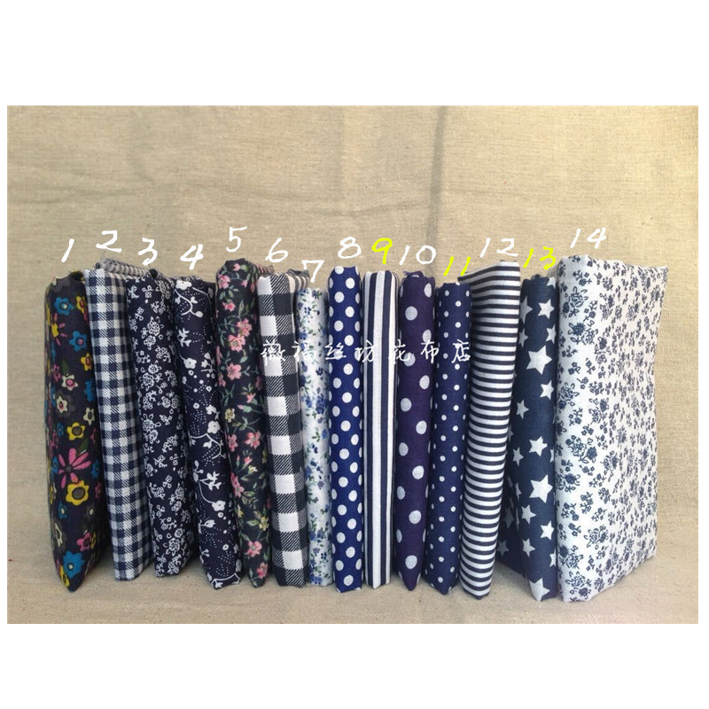 100 Cotton Fabricdark Blue Printed Handmade Fabric Flowers For