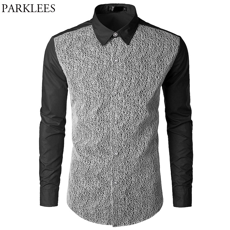 Men's Clothing Diplomatic Mens Sexy Mesh Black Social Shirt 2018 Brand New Slim Fit Casual Button Down Chemise Homme Fashion Hollow Out Mens Dress Shirts Casual Shirts