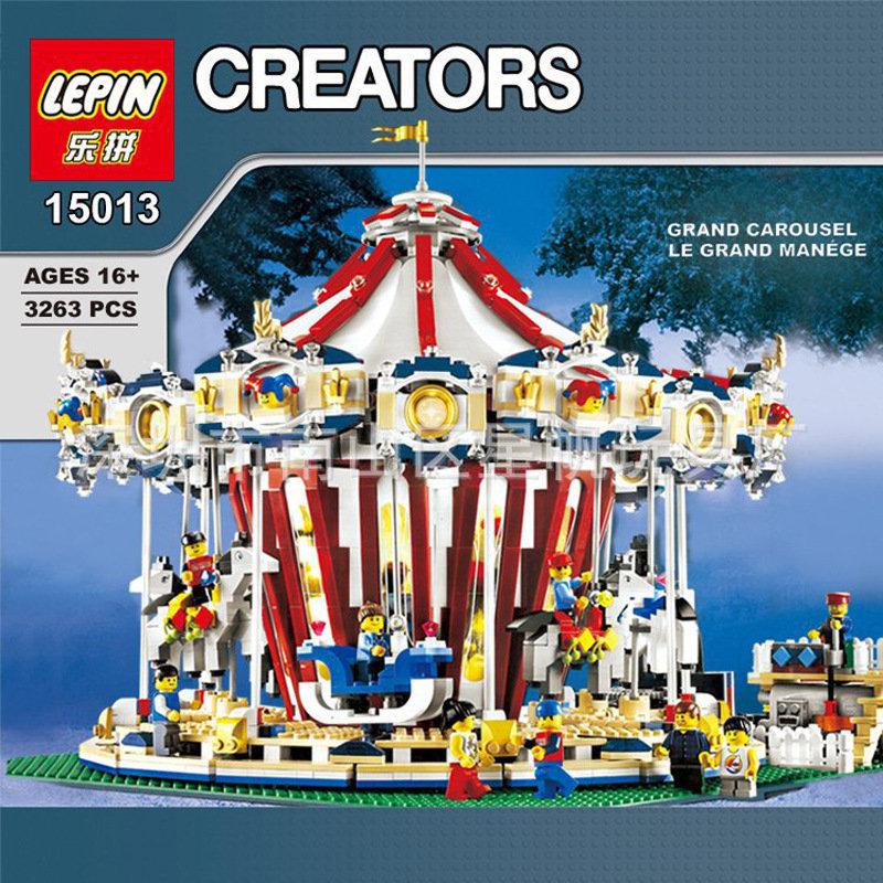 Lepin 15013A City Sreet series legoing creator Carousel Model Building Kits Blocks Toy Compatible 10196 Christmas Gift lepin 15013 city street carousel model building kits assembling blocks toy legoing 10196 educational merry go round gifts