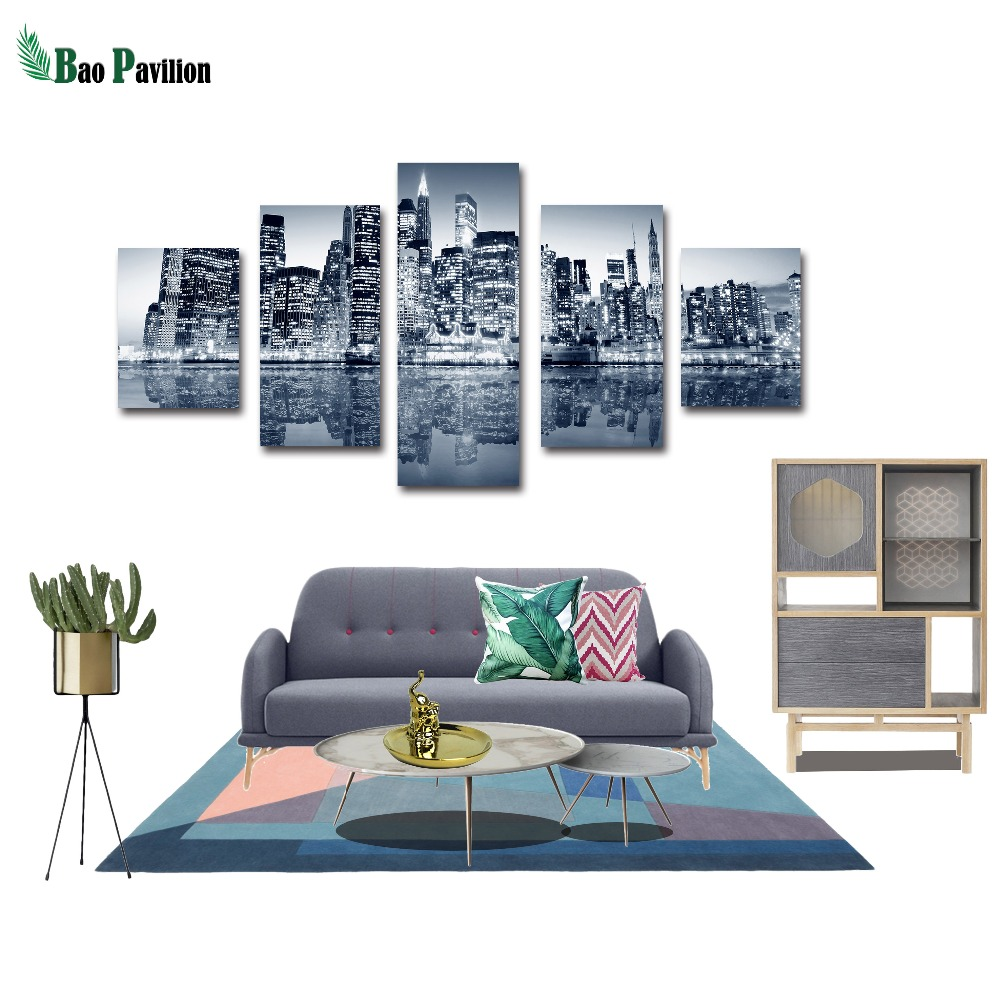 City Canvas Wall Building Landscape Art Print Home Decor For Living Room Decorative Pictures 5 Piece Panel Large Poster HD Print in Painting Calligraphy from Home Garden