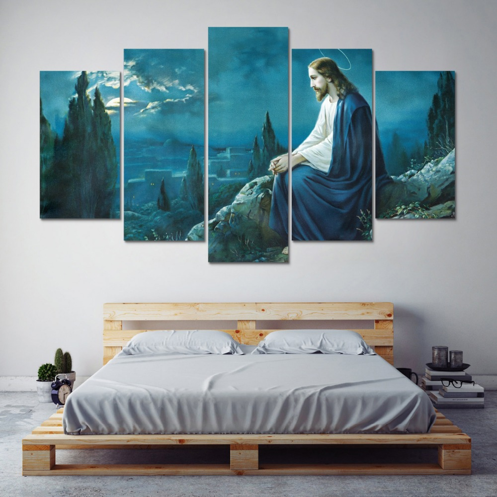 Modular Picture Wall Canvas Art Print 5 Panel Jesus Painting Poster ...