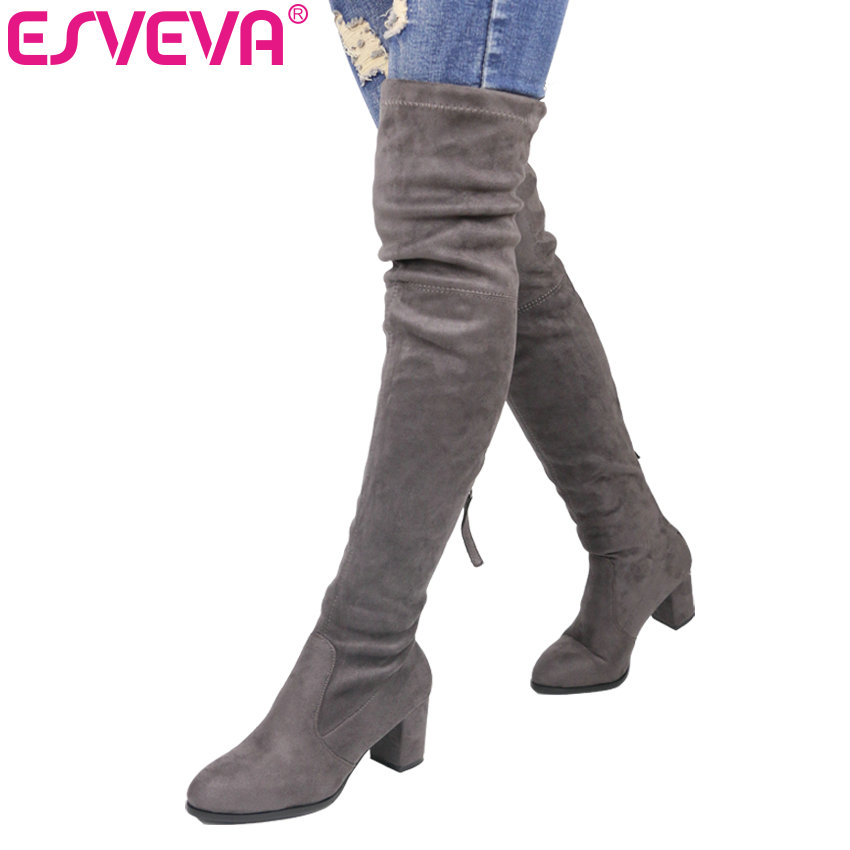 ESVEVA 2018 Over The Knee Boots Winter Round Toe Warm Women Boots Lady Short Plush + Stretch Fabric Fashion Boots Big Size 34-43 genuine leather women over the knee boots pointed toe wedge heels thick warm lady winter long boots plus size 43 44 45 big size