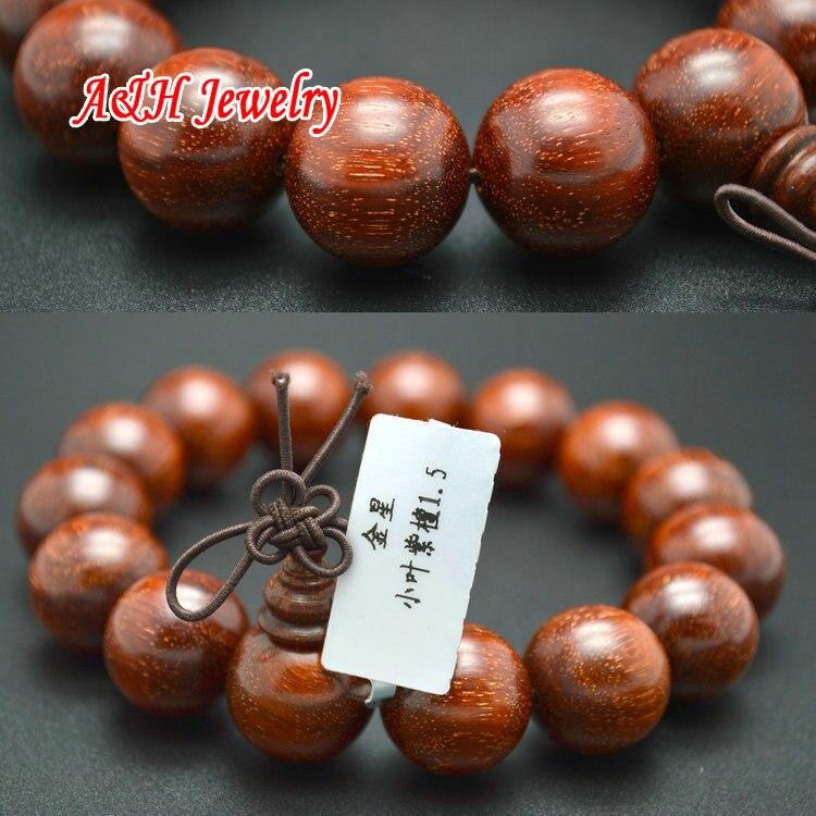 Bracelets de prière en forme d'étoile en or 15mm Pterocarpus Santalinus pour hommes bijoux bouddhisme en bois de haute qualité 2 pc/lot