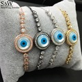 Frete grátis mãe de pearl shell pêra pulseira olho do mal charme olho turco pulseira adjusable