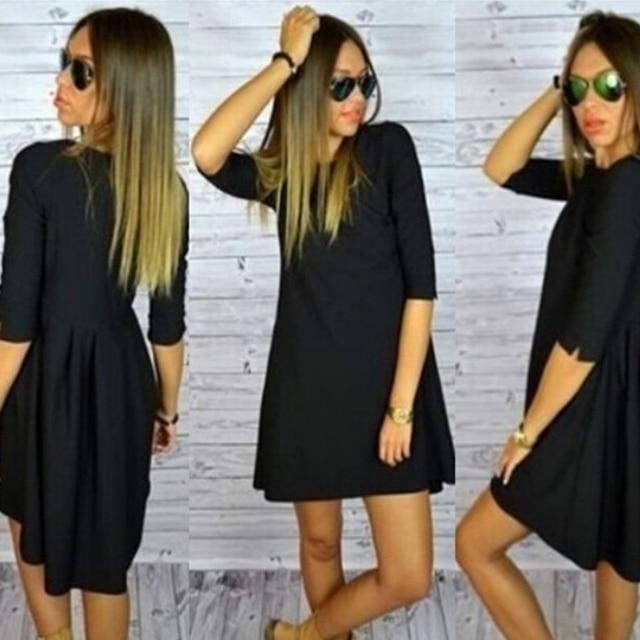 Популярные женщины платье OL темперамент платье O-образным Вырезом половина рукава платья ласточкин хвост платье свободно плюс размер одри хепберн